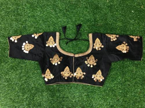 Beautiful Black Color Embroidered Silk Readymade Blouse Design Online