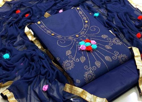 Adorable Navy Blue Color Party Wear PC Cotton Machinery Diamond Work Lace Border Neck Hand Made Design Salwar Suit