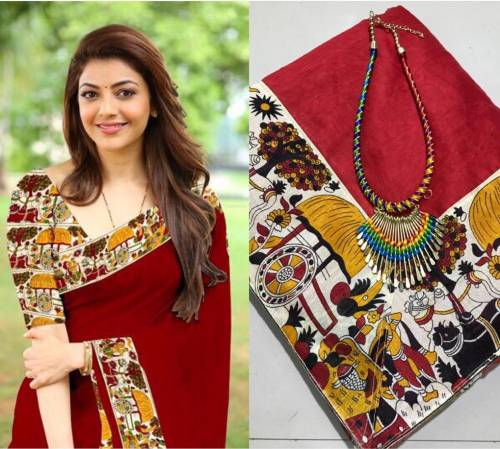 Maroon Color Chanderi Silk Printed lace border Saree Design For Function