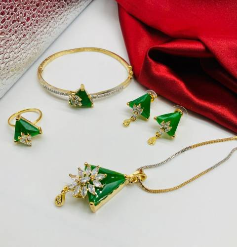 Intricate Green Color Diamond Imitation Jewellery Set For Women