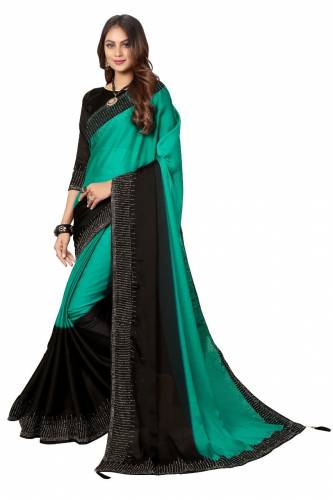 Amazing Sea Green Color Satin Silk HB Diamond Machine Stone Work Saree Blouse For Party Wear