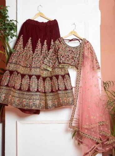 Sensational Maroon Color Wedding Wear Velvet Multi Thread Embroidered Work Lehenga Choli For Women