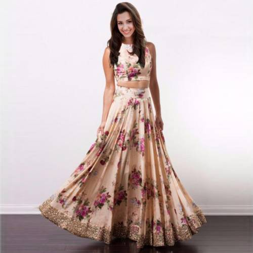 Renowned Peach Color Satin Floral Printed Semi Stitched Lehenga Choli For Women