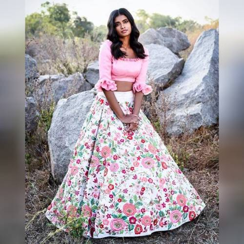 Notorious Light Pink Silk Base Floral Printed Semi Stitched Lehenga Choli for Women