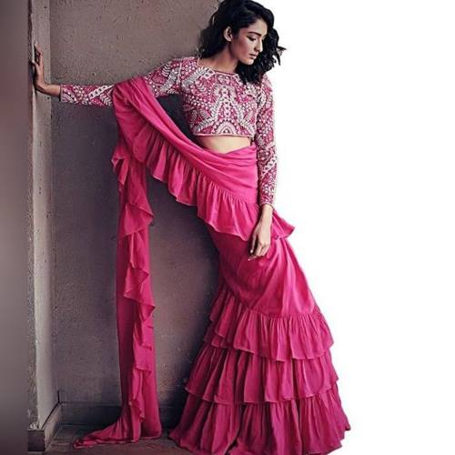 Ruffle Style Pink Color Georgette Plain  Saree For Women