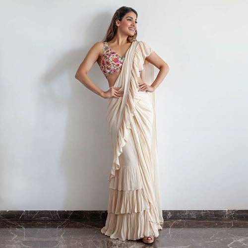 Charming Off White Georgette Ruffle Style Saree For Women