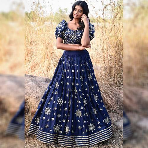 Incisive Navy Blue Patola Silk Embroidered Semi Stitched Lehengas For Women