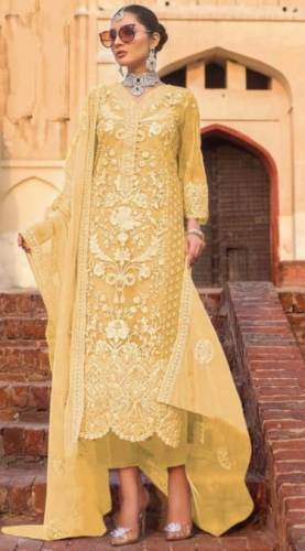 Appealing Yellow Color Designer Heavy Soft Net Embroidered Stone Work Salwar Suit For Wedding Wear