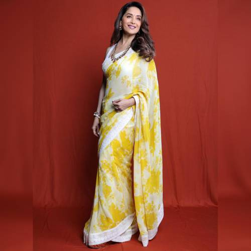 Party Wea Yellow Color Georgette Printed Saree For Women