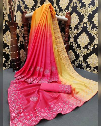 Amazing Yellow Color Festive Wear Satin Silk HB Machine Stone Diamond Work Saree Blouse
