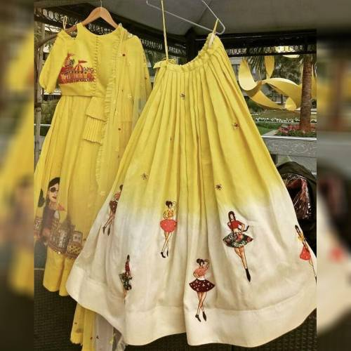 Function Wear Dancing Doll Yellow Yellow Silk Printed Semi Stitched Lehenga