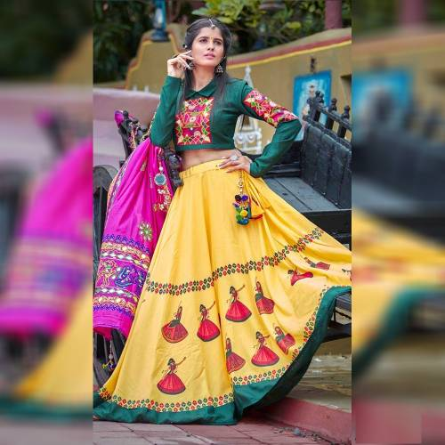 Engrossing Yellow Silk Digital Printed Lorry Semi Stitched Lehenga For Women