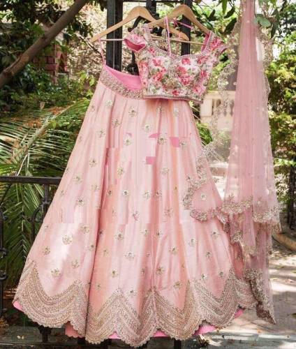 Awesome Pastal Pink color Japan Silk Embroidered Lehnga Choli For Women