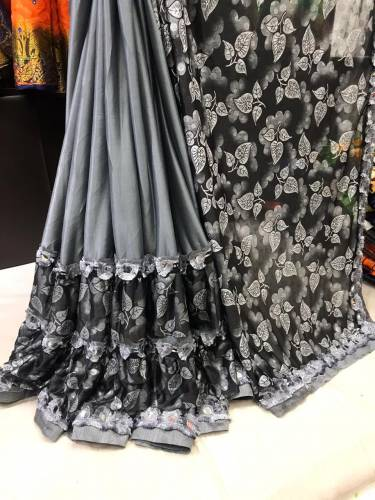 Awesome Gray color Emboss Print Jersy Silk Saree For Women