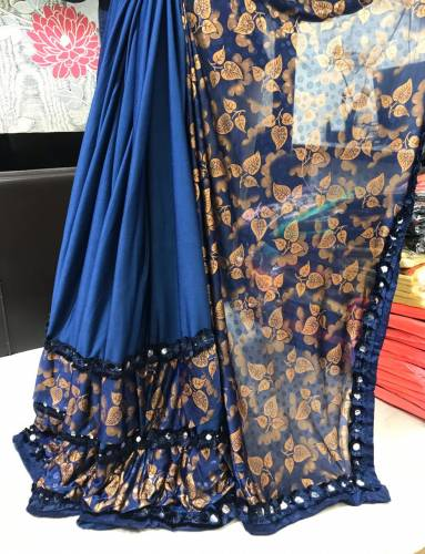 Beautiful Royal Blue Jersy Silk Flog Print Saree For Women