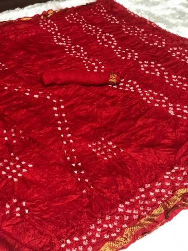 Beautiful Red Color Bandhej Nylon Silk Saree With Weaving Border