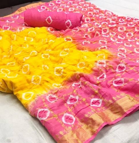 Pink Color Pure Cotton With Zari Weaving Chex Saree Design Online