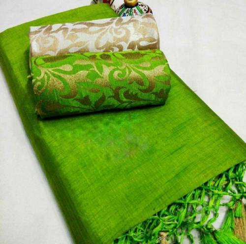 Parrot Green Color Chanderi Silk Plain Saree with Fancy Jacard Silk 2 Blouse