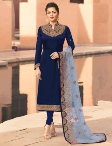 Breathtaking Navy Blue Color Embroidered Stone Work Satin Georgette Salwar Suit For Function Wear