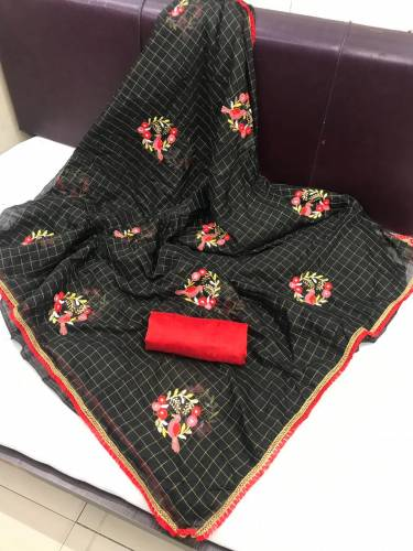 Black Chanderi Chex Cotton With Embroidered Saree For Wedding Wear