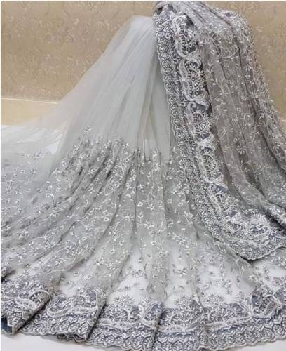 Grey Color Heavy Naylon Net Embroidered Moti Work Saree For Function Wear