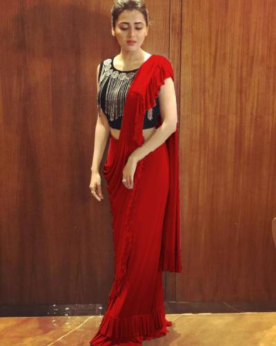 Red Color Faux Georgette Designer Ruffle Border Saree Blouse