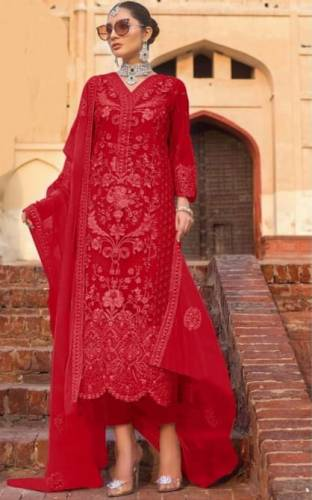 Magnetic Barn Red Color Festive Wear Heavy Soft Net Stone Embroidered Work Salwar Suit