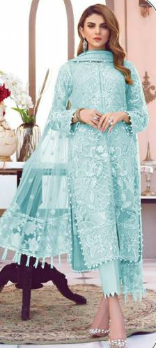 Jazzy Baby Blue Color Butterfly Net Multi Sequence Embroidered Stitch Moti Work Salwar Suit For Women