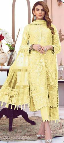 Majesty Yellow Color Butterfly Net Multi Sequence Embroidered Stitch Moti Work Salwar Suit For Party Wear