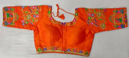 Alluring Orange Color Fantom Silk Thread Diamond Hand Work Ready Made Blouse