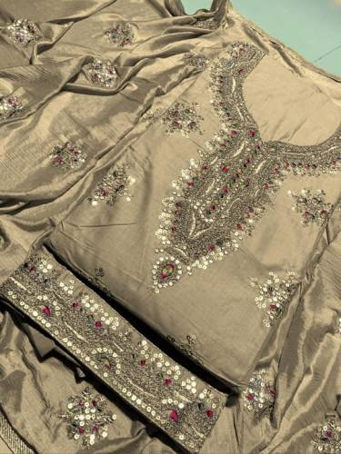 Alluring Sepia Color Designer Cotton Embroidered Sequence Work Salwar Suit