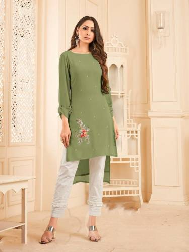 Beautiful Green Color Georgette With Diamond Work Full Stitched Kurti Pant CHETANA103I