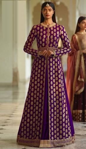 Amazing Purple Color Heavy Silk Thread Embroidered Work Anarkali Salwar Suit For Wedding Wear