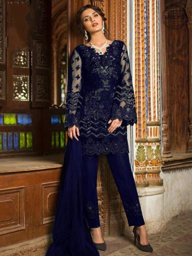 Wonderful Navy Blue Color Sequence Embroidered Work Butterfly Net Salwar Suit For Women