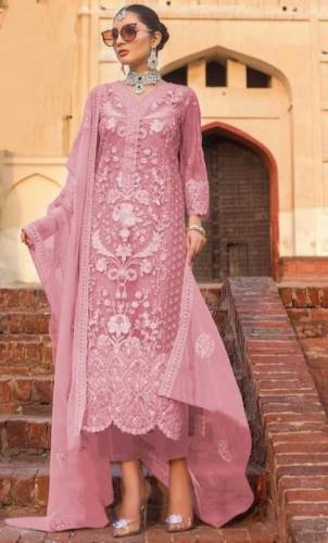 Fabulous Fandango Color Heavy Soft Net Embroidered Stone Work Salwar Suit For Function Wear