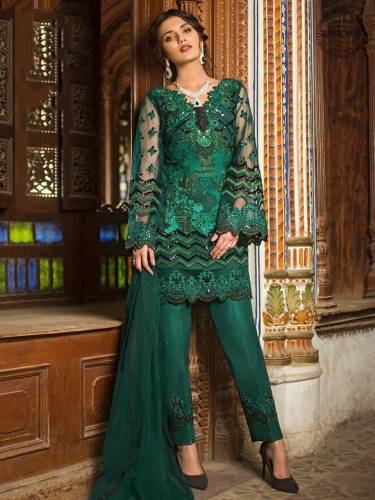 Prominent Pine Color Designer Embroidered Sequence Work Butterfly Net Salwar Suit