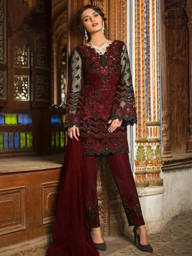 Admiring Barn Red Butterfly Net Sequence Embroidered Work Festive Wear Salwar Suit