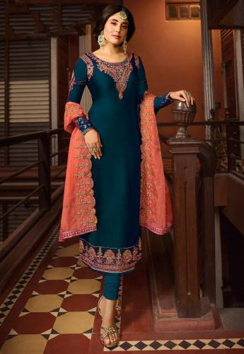 Beautiful Dark Color Satin Georgette Embroidered Work Festive Wear Salwar Suit