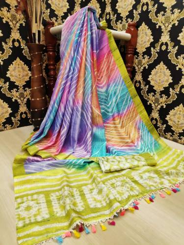 Wonderful Moss Color Designer Leheriya Linen Digital Printed Saree Blouse For Party Wear