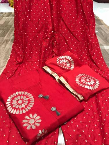 Dazzling Red Colored Rayon Cotton Kurti And Full Stitched Plazo For Function Wear VT3034108A